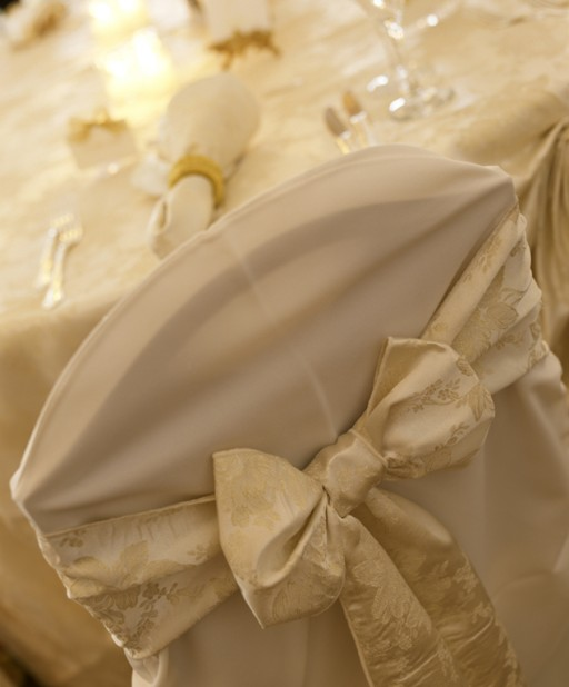 Solid Ivory Chair Covers with a Touch of Elegant  Ivory & Gold Sashes ~ $8.50+ each