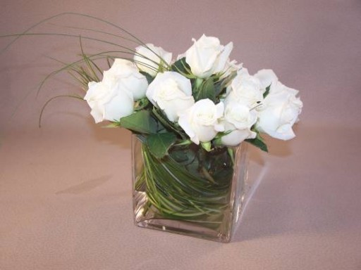 White Roses in Square Vase  $70+