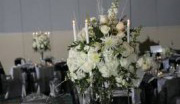 Silver Satin Chair Covers with Black Satin Sashes ~ $10.50+ each