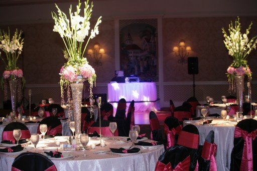 Black Satin Chair Covers with Hot Pink Satin Sashes ~ $10.50+ each