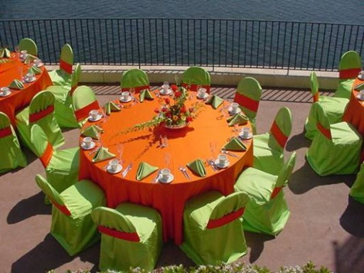Solid Lime Green Chair Covers with Orange Spandex Bands ~ $8.50+ each