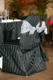 Imperial Stripe Chair Cover with Zebra Print Sash ~ $10.50+ each