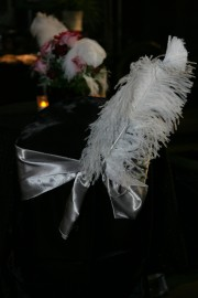 Black Satin Chair Cover with Silver Satin Sash ~ $10.50+ each