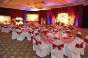 White Solid Chair Covers with Solid Red Sashes ~ $8.50+ each