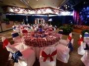 White Solid Chair Covers with Alternating Solid Red & Navy Sashes ~ $8.50+ each