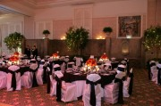 White Satin Chair Covers with Black Satin Sashes ~ $10.50+ each