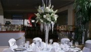 Solid White Chair Covers with Pewter Satin Sashes ~ $8.50+ each