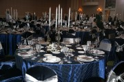 Navy Satin Chair Covers with Pewter Satin Sashes $10.50+ each